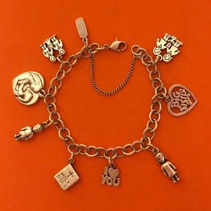James Avery Forged link SS Bracelet with 9 charms
